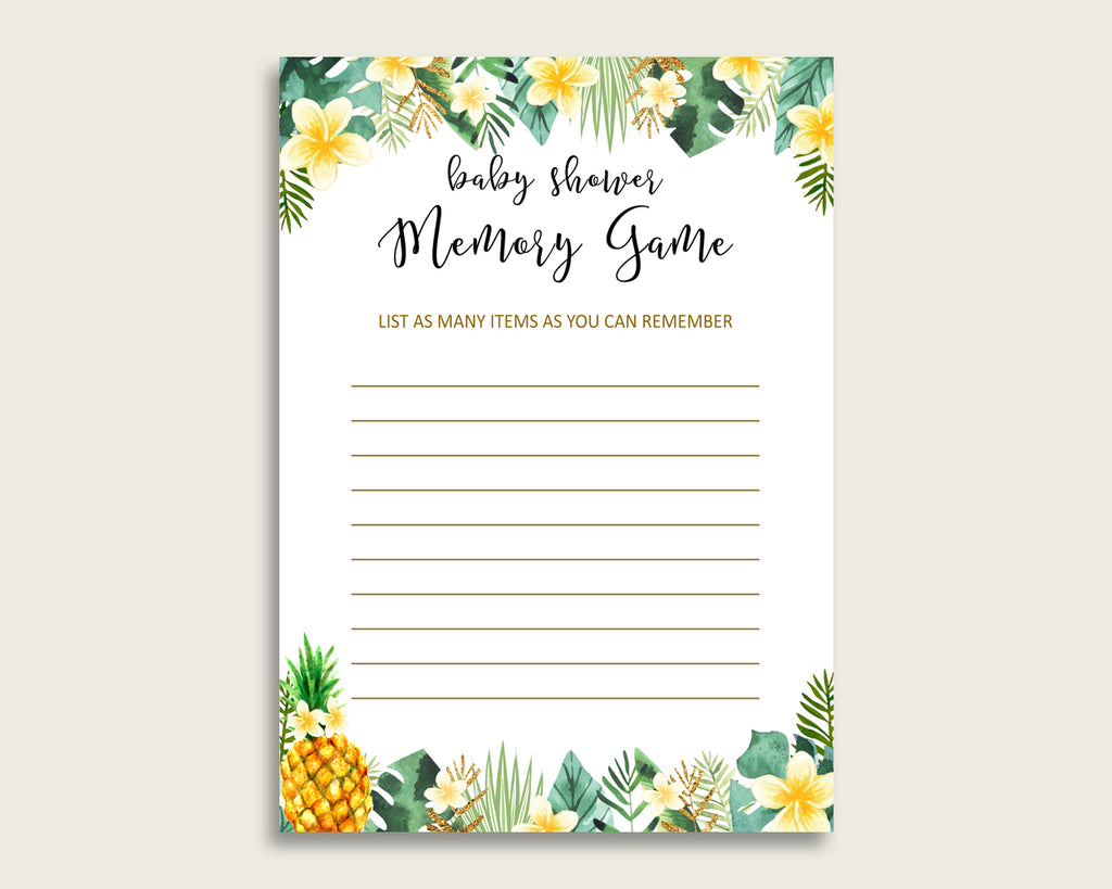 Tropical Baby Shower Memory Game, Green Yellow Memory Guessing Game Printable, Baby Shower Gender Neutral, Instant Download, Popular 4N0VK