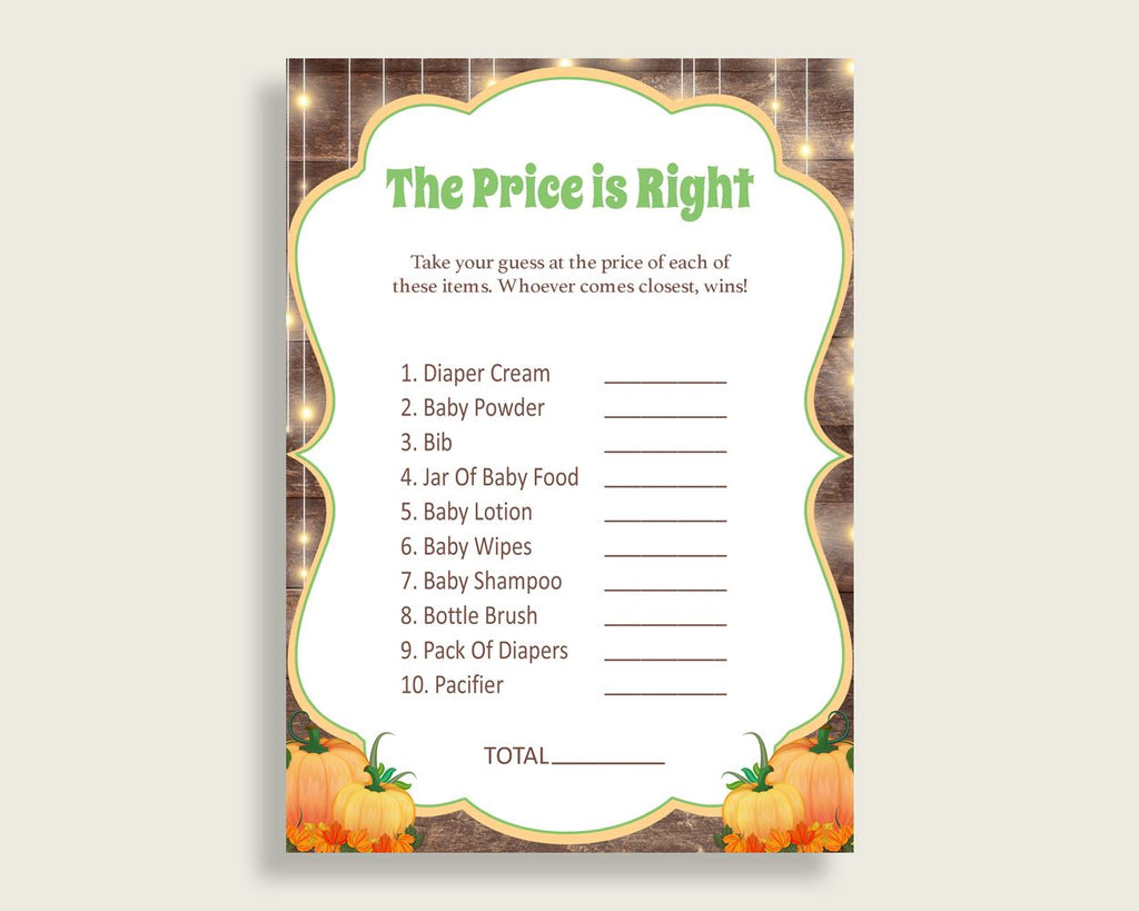 Price Is Right Baby Shower Price Is Right Autumn Baby Shower Price Is Right Baby Shower Autumn Price Is Right Brown Orange pdf jpg 0QDR3 - Digital Product