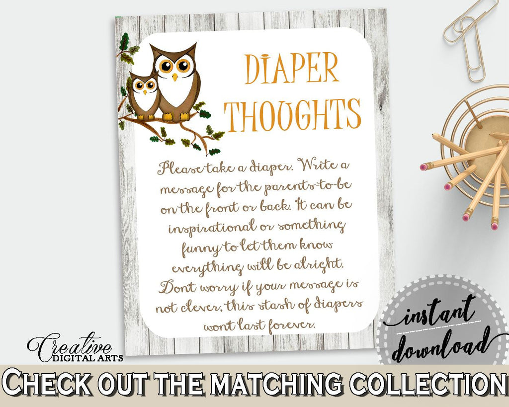 Diaper Thoughts Baby Shower Diaper Thoughts Owl Baby Shower Diaper Thoughts Baby Shower Owl Diaper Thoughts Gray Brown party theme 9PUAC - Digital Product