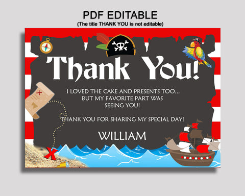 Birthday Pirate Thank You Pirate Self Editable Red Black Thank You Notes Pirate Party Thank You Boy INGIO