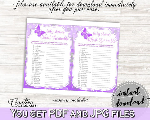 Word Scramble Baby Shower Word Scramble Butterfly Baby Shower Word