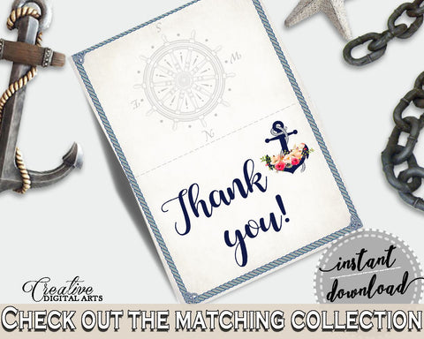 Navy Blue Nautical Anchor Flowers Bridal Shower Theme: Thank You Card - folded thank you, sailboat helm wheel, party organization - 87BSZ - Digital Product