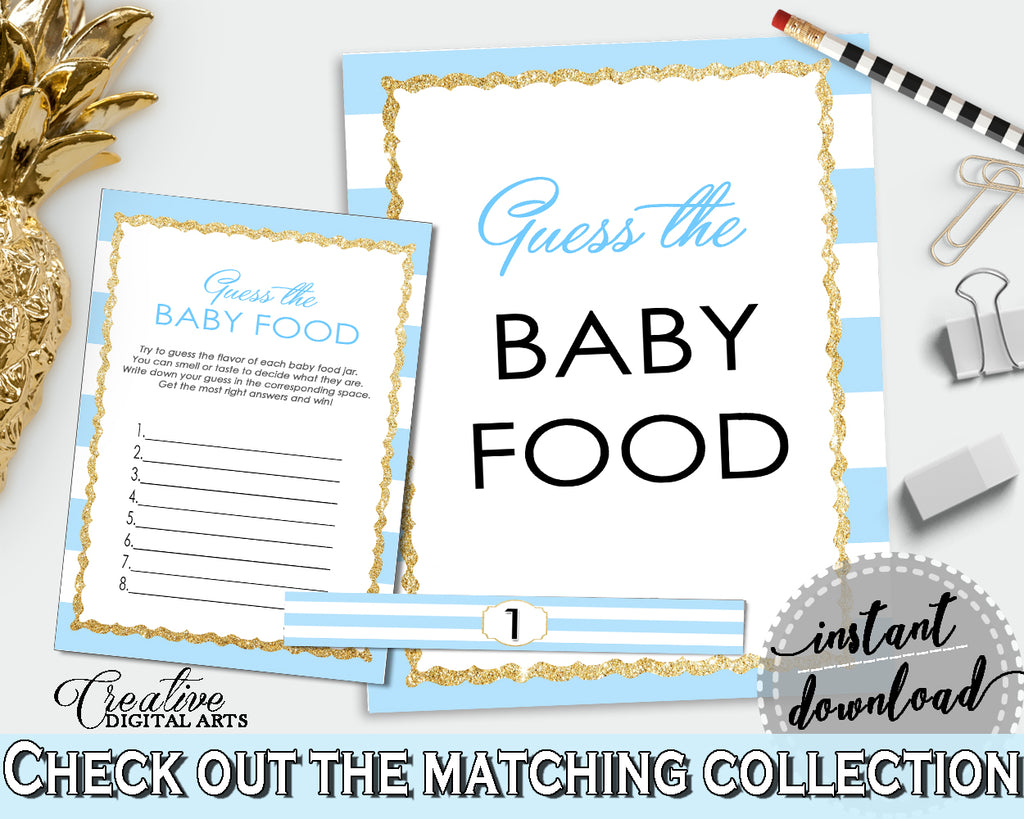 GUESS The BABY FOOD printable game for baby shower with blue stripes theme, glitter title, digital, Jpg Pdf, instant download - bs002