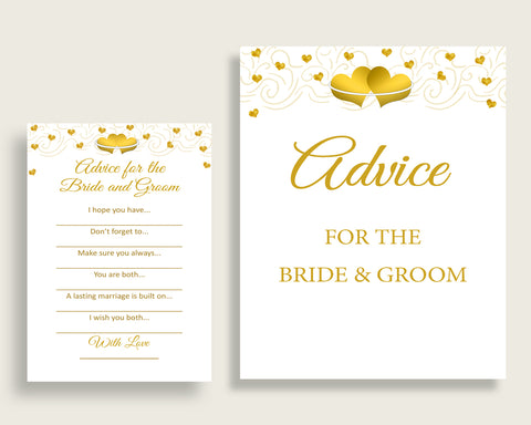 Advice Bridal Shower Advice Gold Hearts Bridal Shower Advice Bridal Shower Gold Hearts Advice White Gold digital print party theme 6GQOT