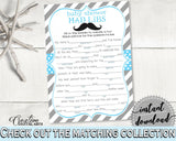Blue Gray Mad Libs, Baby Shower Mad Libs, Mustache Baby Shower Mad Libs, Baby Shower Mustache Mad Libs shower celebration - 9P2QW - Digital Product