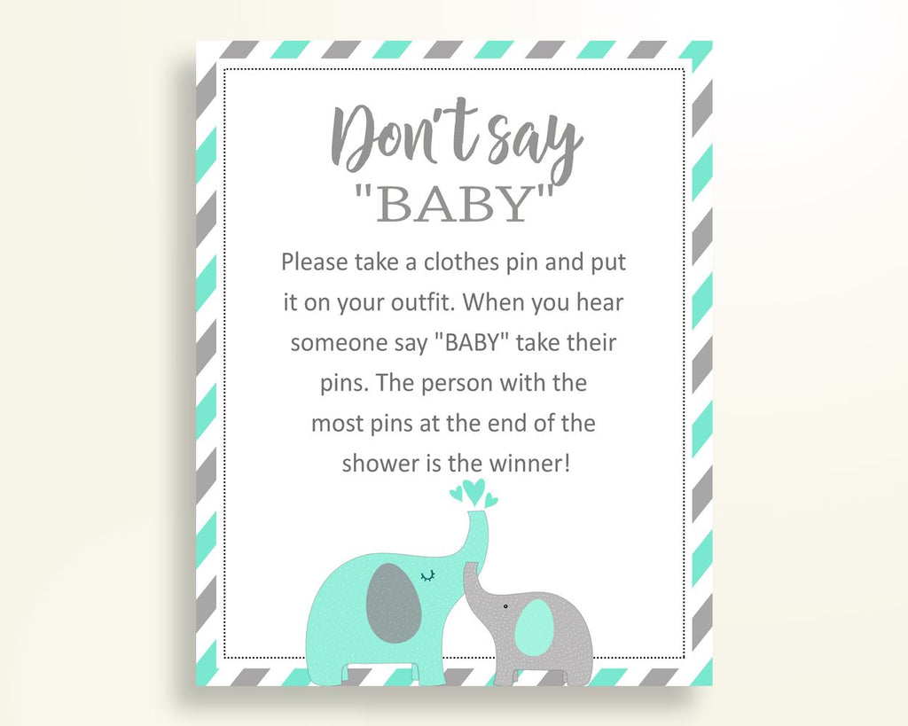 Dont Say Baby Baby Shower Dont Say Baby Turquoise Baby Shower Dont Say Baby Baby Shower Elephant Dont Say Baby Green Gray pdf jpg 5DMNH - Digital Product