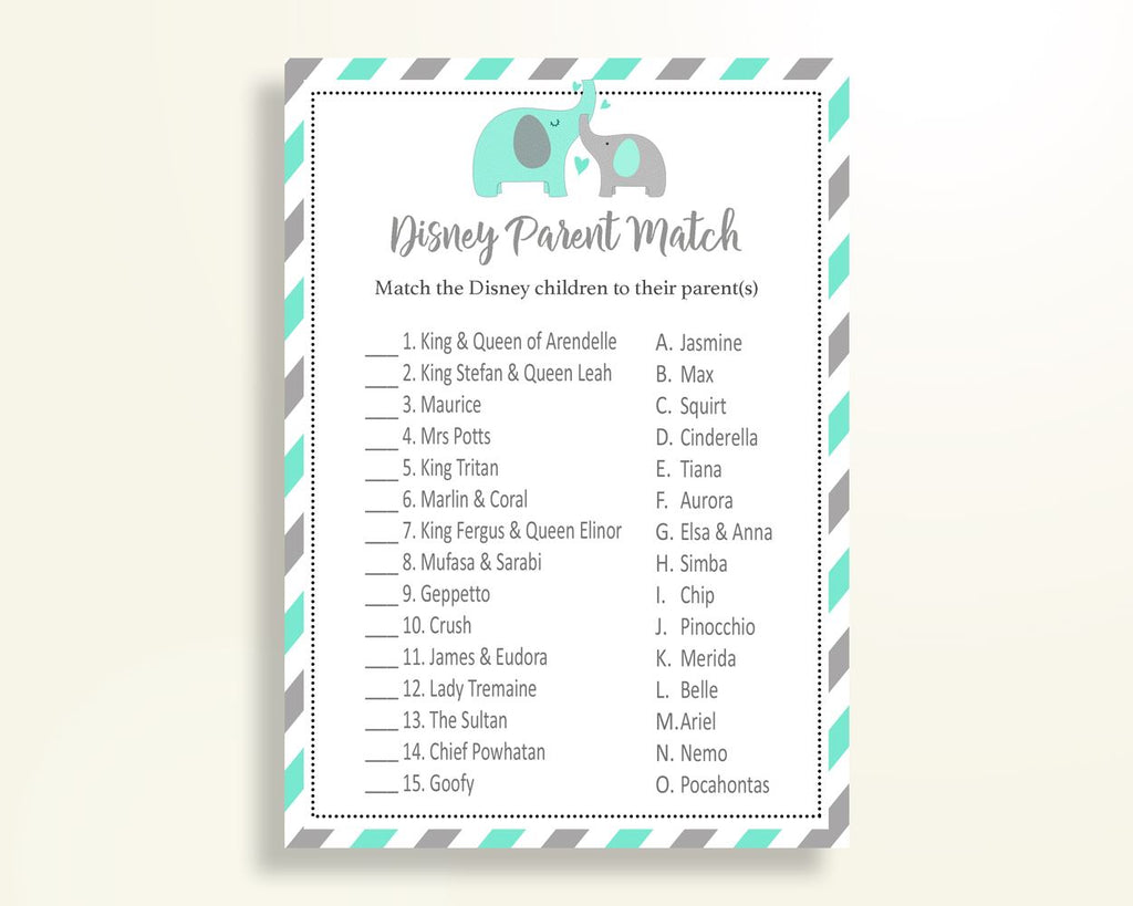 Disney Parent Match Baby Shower Disney Parent Match Turquoise Baby Shower Disney Parent Match Baby Shower Elephant Disney Parent Match 5DMNH - Digital Product