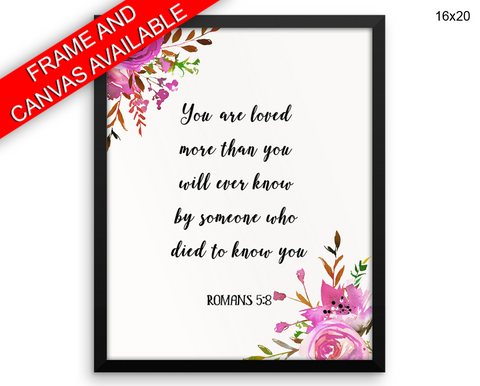 Romans Verse Print, Beautiful Wall Art with Frame and Canvas options available Catholic Decor