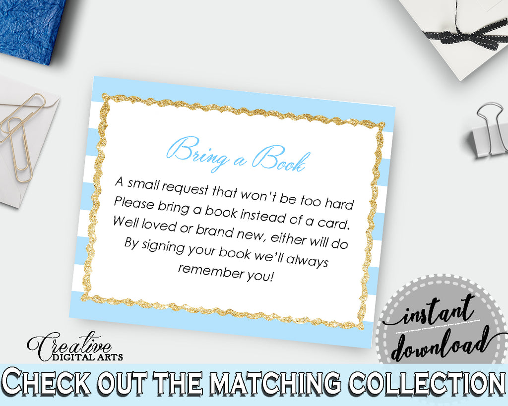 Baby shower BRING A BOOK printable insert cards for boys with blue and white stripes theme glitter gold, instant download - bs002
