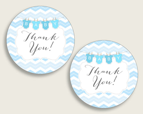Chevron Baby Shower Round Thank You Tags 2 inch Printable, Blue White Favor Gift Tags, Boy Shower Hang Tags Labels, Digital File cbl01
