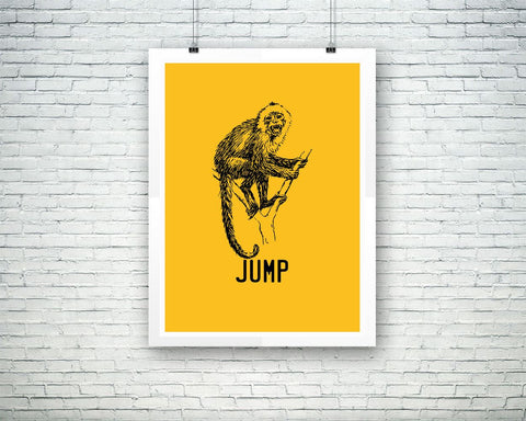 Wall Decor Monkey Printable Jump Prints Monkey Sign Jump Living Room Art Jump Living Room Print Monkey Printable Art Monkey wild - Digital Download
