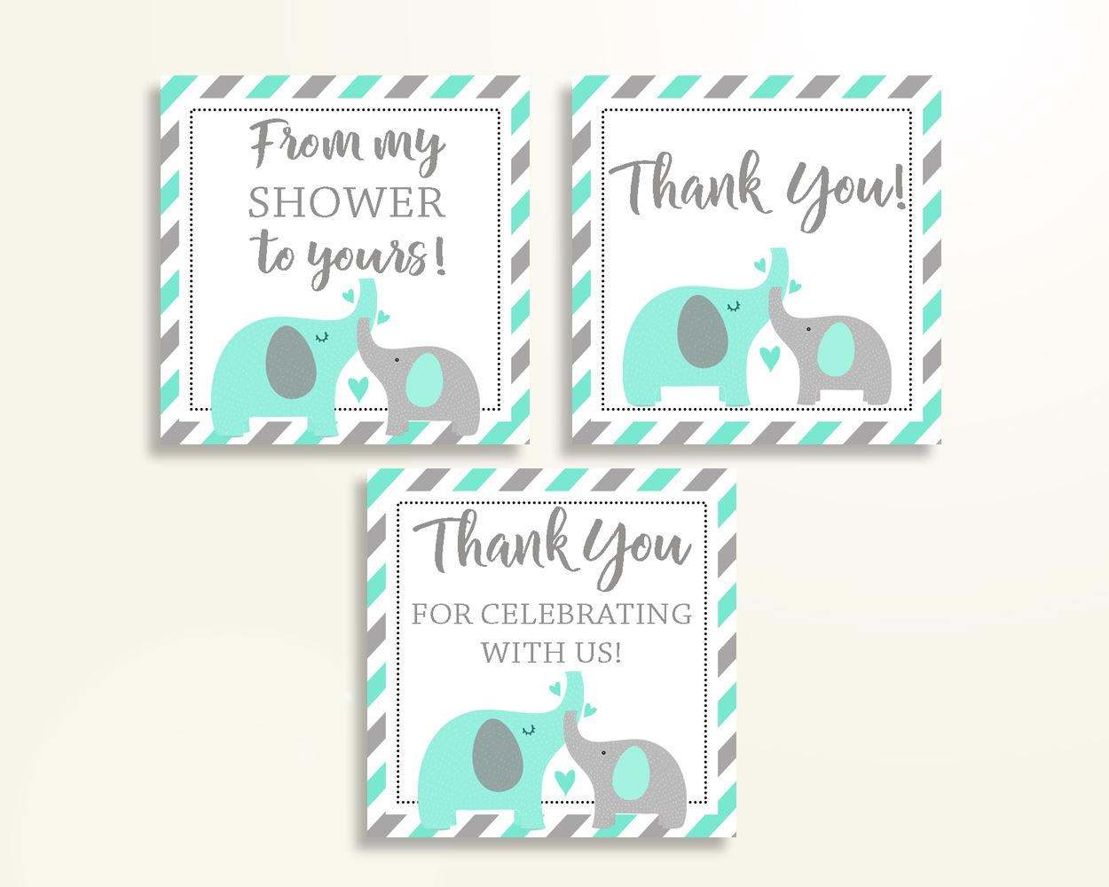 Thank You Tags Baby Shower Thank You Tags Turquoise Baby Shower Thank You Tags Baby Shower Elephant Thank You Tags Green Gray prints 5DMNH - Digital Product