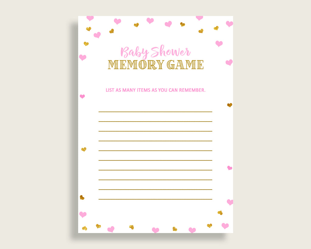 Memory Game Baby Shower Memory Game Hearts Baby Shower Memory Game Baby Shower Hearts Memory Game Pink Gold party stuff party decor bsh01