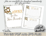 Advice Cards Baby Shower Advice Cards Owl Baby Shower Advice Cards Baby Shower Owl Advice Cards Gray Brown printables - 9PUAC - Digital Product
