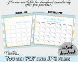 Baby Shower editable printable BIRTHDAY PREDICTION due date calendar with blue and white stripes, gold glitter, instant download - bs002