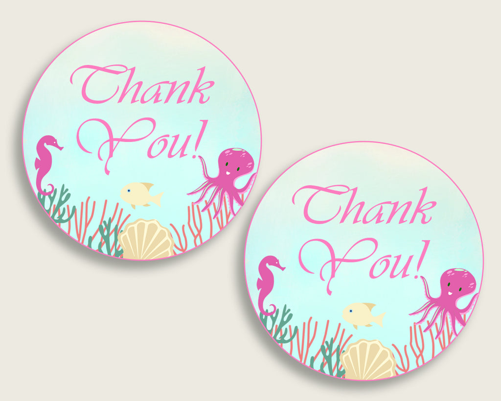 Under The Sea Baby Shower Round Thank You Tags 2 inch Printable, Pink Green Favor Gift Tags, Girl Shower Hang Tags Labels, Digital uts01