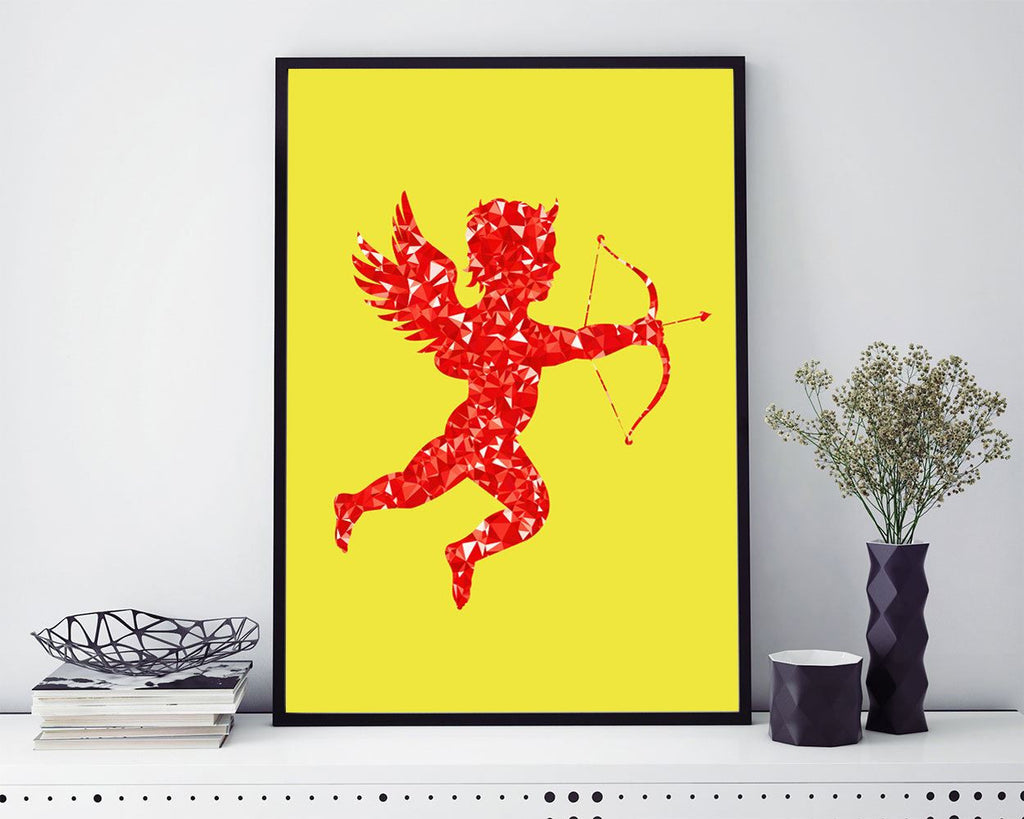 Wall Art Red Cupid Digital Print Red Cupid Poster Art Red Cupid Wall Art Print Red Cupid Love Art Red Cupid Love Print Red Cupid Wall Decor - Digital Download