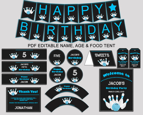 Bowling Birthday Decor Bowling Editable Pack Black Blue Party Decoration Bowling Birthday Decoration Boy 5DVSP