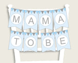 Elephant Baby Shower Chair Banner Printable, Blue Grey Chair Banner, Boy Shower, Mama To Be, Mommy, Dad Mom To Be, Instant Download, ebl02