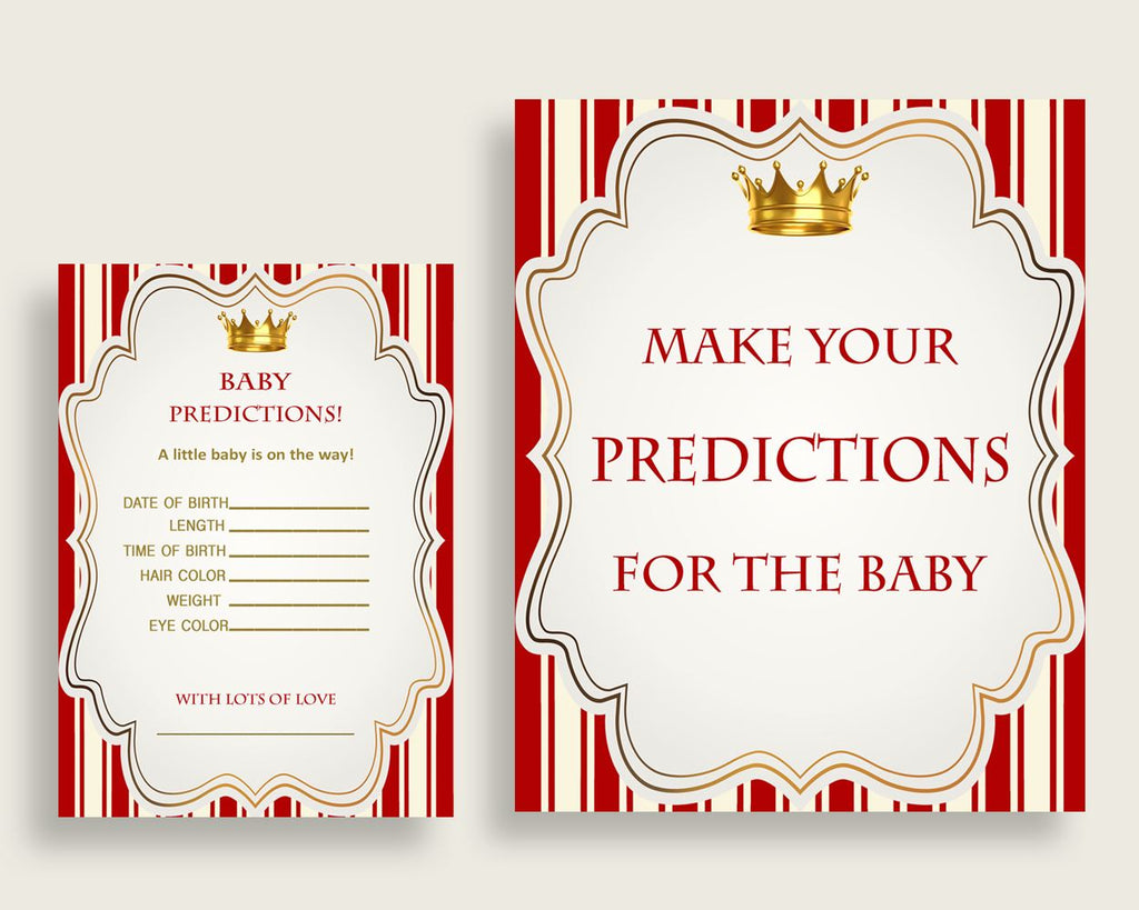 Prince Baby Shower Prediction Cards & Sign Printable, Red Gold Baby Prediction Game Boy, Instant Download, Most Popular Cute Theme 92EDX