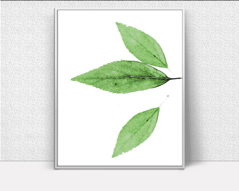 Wall Decor Leaf Printable Leaf Prints Leaf Sign Leaf Nature Art Leaf Nature Print Leaf Printable Art Leaf Home Decor Green Minimalistic - Digital Download