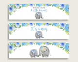 Blue Gray Water Bottle Labels Printable, Elephant Blue Water Bottle Wraps, Elephant Blue Baby Shower Boy Bottle Wrappers, Instant ebl01