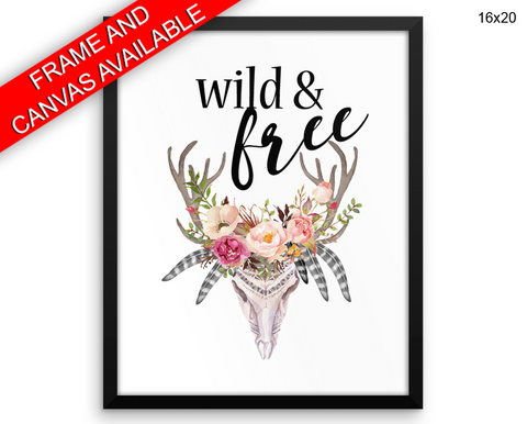 Wild Free Print, Beautiful Wall Art with Frame and Canvas options available  Decor