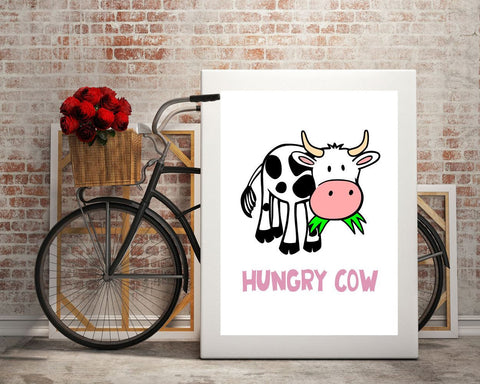 Cow Wall Art wall art cow digital print hungry poster art cow wall art print