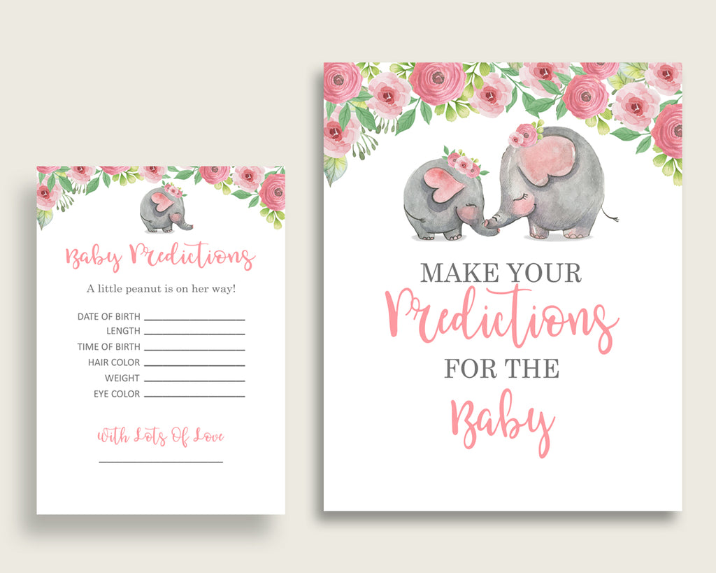 Pink Elephant Baby Shower Prediction Cards & Sign Printable, Pink Grey Baby Prediction Game Girl, Instant Download, Trunk Tusks Snorky ep001