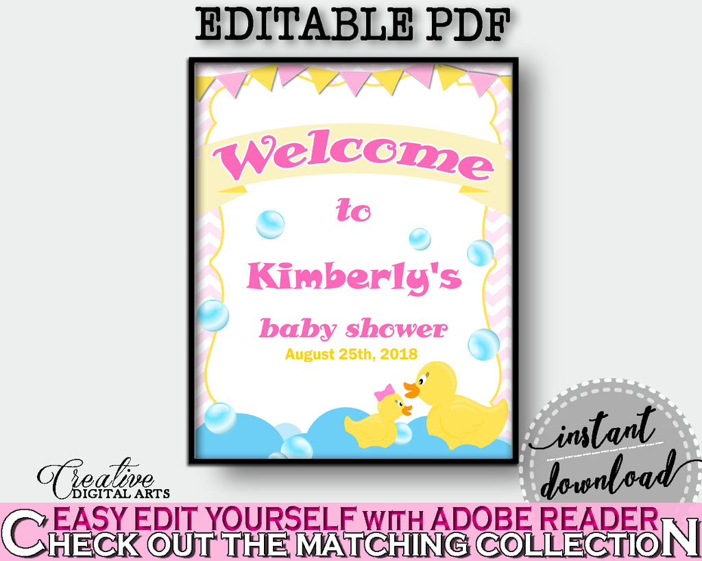 Welcome Sign Baby Shower Welcome Sign Rubber Duck Baby Shower ...