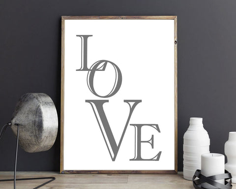 Wall Decor Love Printable Love Prints Love Sign Love Bedroom Art Love Bedroom Print Love Printable Art Love typography romantic letters - Digital Download