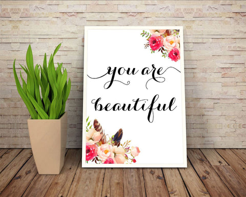 Wall Art You Are Beautiful Digital Print You Are Beautiful Poster Art You Are Beautiful Wall Art Print You Are Beautiful Typography Art You - Digital Download