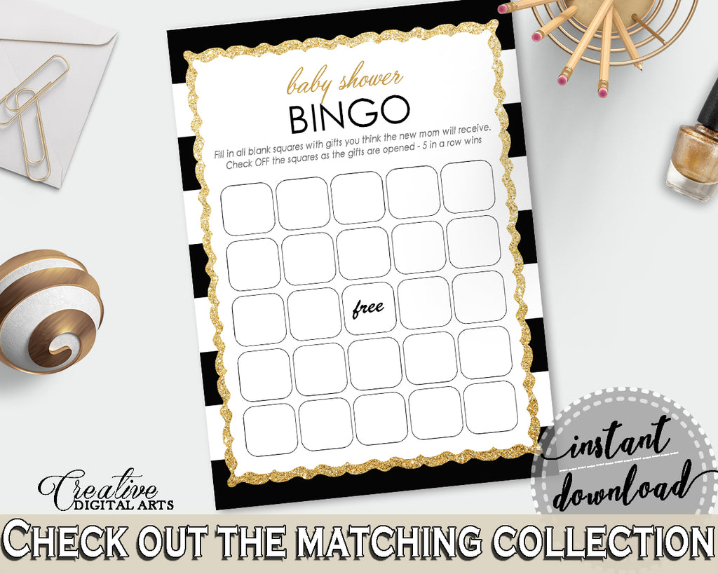 Baby Shower printable BINGO GIFT cards game with black strips printable and glitter gold title, Jpg Pdf, instant download - bs001