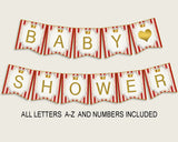 Prince Baby Shower Banner All Letters, Birthday Party Banner Printable A-Z, Red Gold Banner Decoration Letters Boy, Crown Cute Theme 92EDX