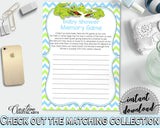 Baby Shower MEMORY game with green alligator and blue color theme, instant download - ap002