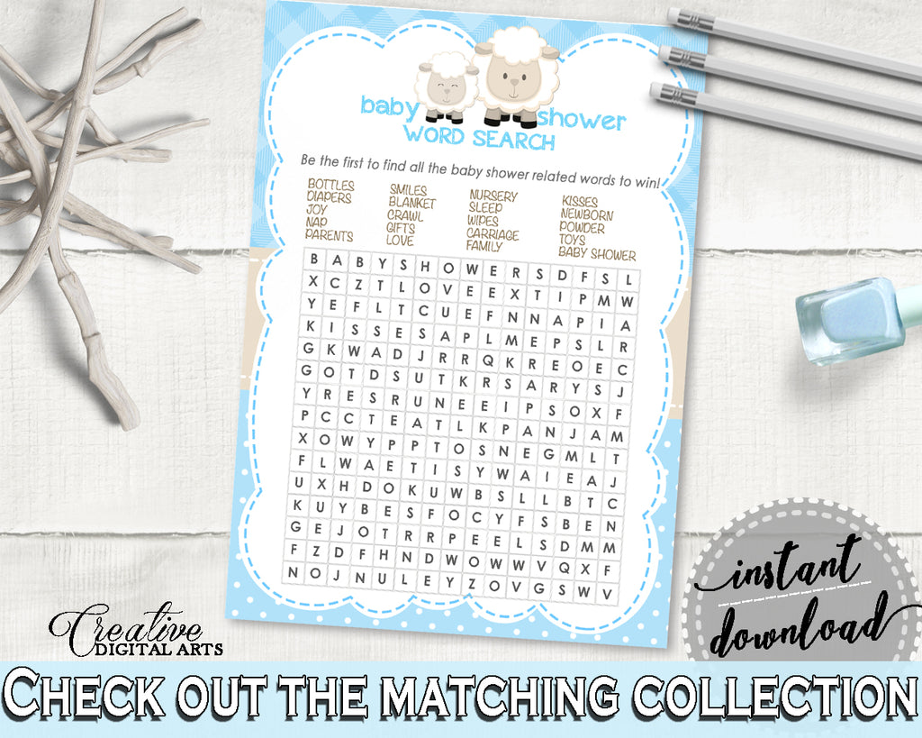 Blue Baby Shower Little Lamb WORD SEARCH game printable, baby shower sheep game, digital files, Jpg and Pdf, instant download - fa001