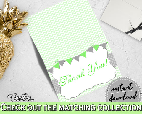 Baby shower THANK YOU card printable with chevron green theme, digital jpg pdf, instant download - cgr01