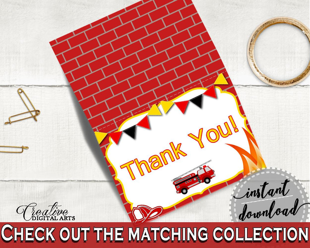 Thank You Card Baby Shower Thank You Card Fireman Baby Shower Thank ...