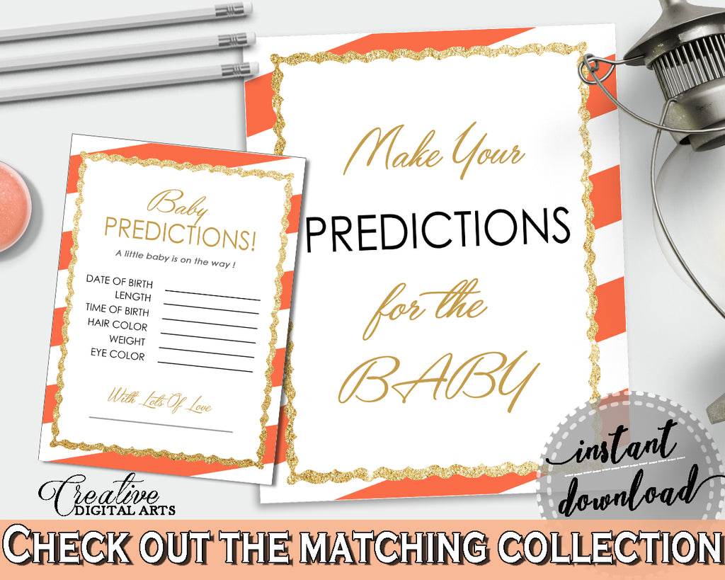 PREDICTIONS FOR BABY sign and cards activity printable for baby shower with white orange color striped theme, instant download - bs003