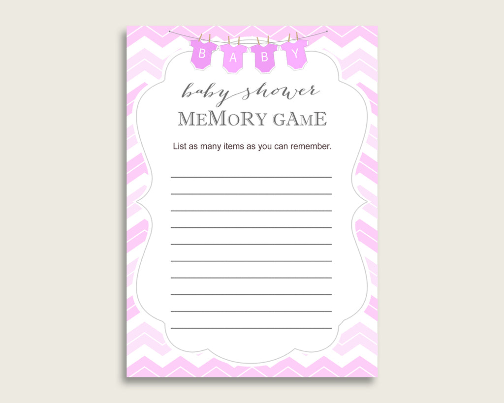 Chevron Baby Shower Memory Game, Pink White Memory Guessing Game Printable, Baby Shower Girl, Instant Download, Zig Zag Theme Popular cp001
