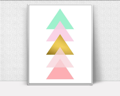 Wall Decor Geometric Printable Abstract Prints Geometric Sign Abstract  Printable Art Geometric Nursery Geometric Gold Triangle Wal Artwork - Digital Download