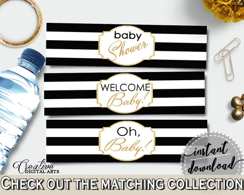 Baby shower WATER BOTTLE LABELS printable with black white stripes color theme, digital files Pdf Jpg, instant download - bs001