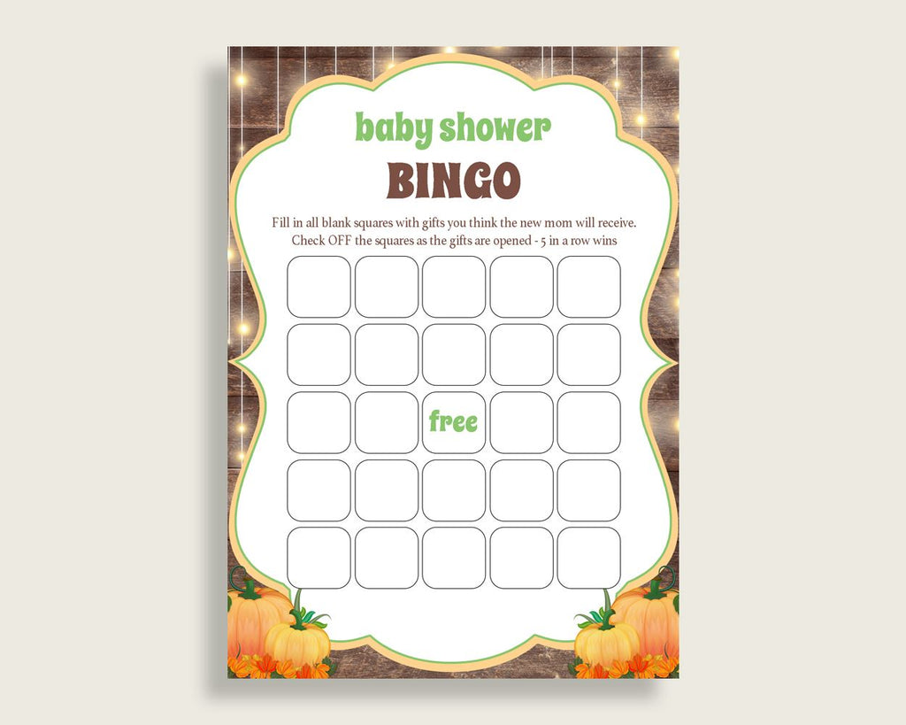 Empty Bingo Baby Shower Empty Bingo Autumn Baby Shower Empty Bingo Baby Shower Autumn Empty Bingo Brown Orange party theme pdf jpg 0QDR3 - Digital Product