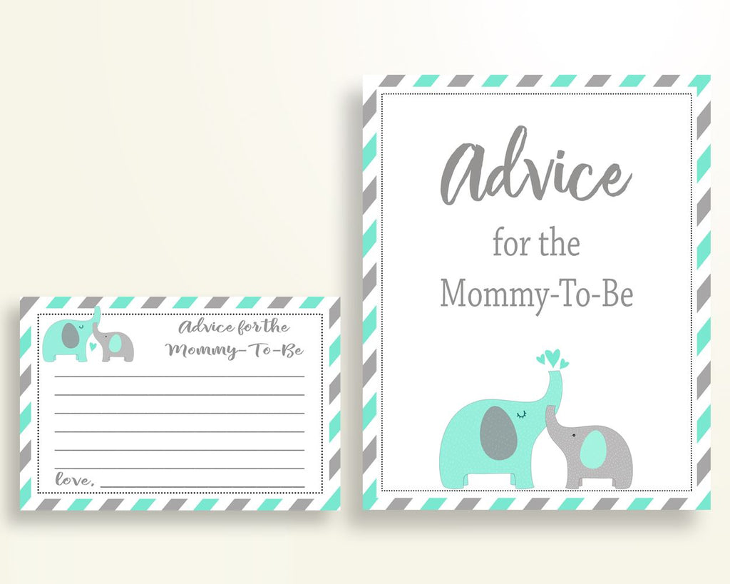 Advice Cards Baby Shower Advice Cards Turquoise Baby Shower Advice Cards Baby Shower Elephant Advice Cards Green Gray party plan paper 5DMNH - Digital Product