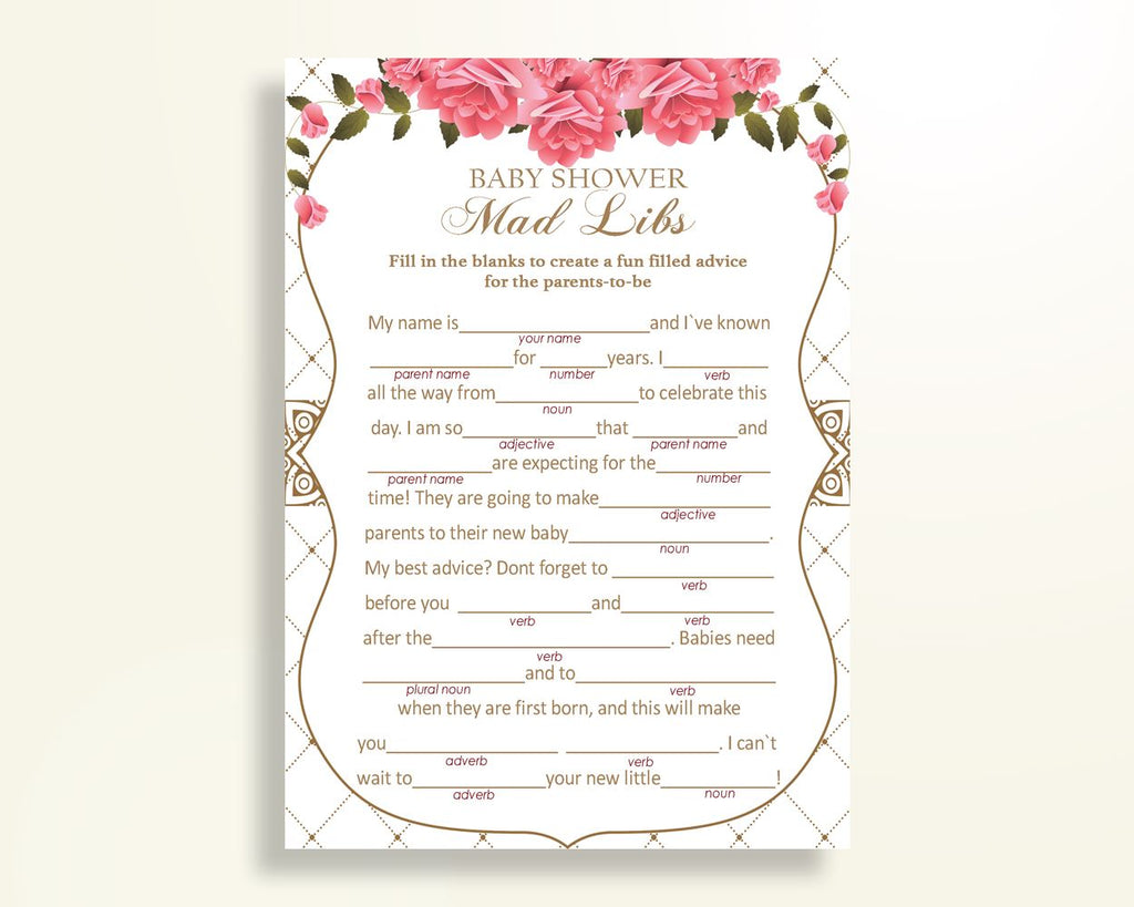 Mad Libs Baby Shower Mad Libs Roses Baby Shower Mad Libs Baby Shower Roses Mad Libs Pink White baby shower idea party stuff prints U3FPX - Digital Product