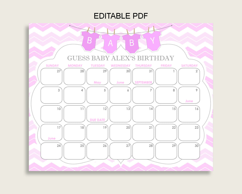 Pink White Guess Baby Due Date Calendar Game Printable, Chevron Baby Shower Girl Birthday Prediction Calendar Editable, Instant cp001