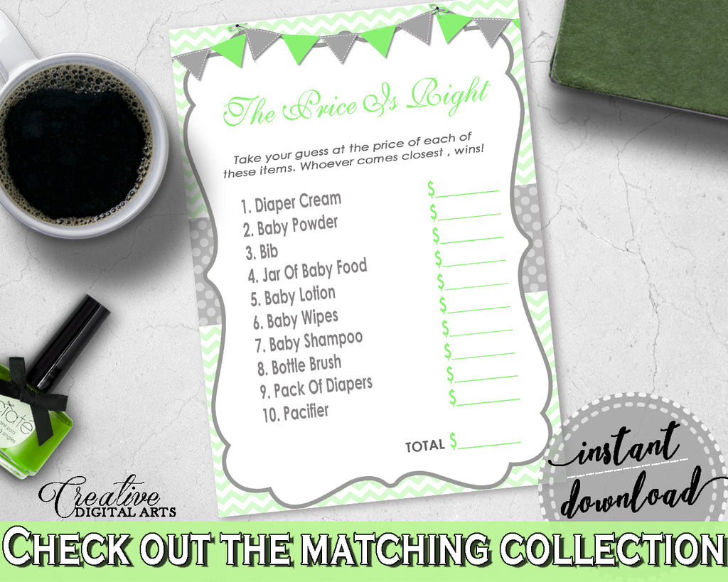 Baby Shower The PRICE IS RIGHT game with chevron green color theme printable, digital files Jpg Pdf, instant download - cgr01