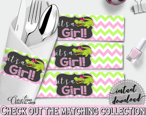 Baby shower NAPKIN RINGS printable with green alligator and pink color theme, instant download - ap001