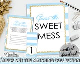 Baby shower GUESS the SWEET MESS game cards tents and sign with blue stripes theme, glitter gold, Jpg Pdf, instant download - bs002