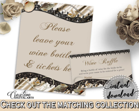 Brown And Beige Seashells And Pearls Bridal Shower Theme: Wine Raffle - stock the bar, lace shower, party theme, customizable files - 65924 - Digital Product
